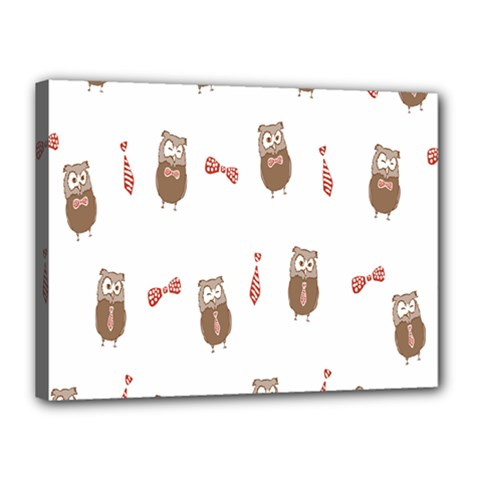 Insulated Owl Tie Bow Scattered Bird Canvas 16  x 12