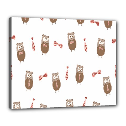 Insulated Owl Tie Bow Scattered Bird Canvas 20  x 16
