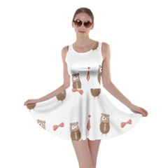 Insulated Owl Tie Bow Scattered Bird Skater Dress