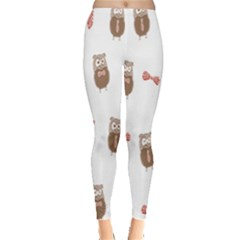 Insulated Owl Tie Bow Scattered Bird Leggings