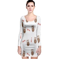 Insulated Owl Tie Bow Scattered Bird Long Sleeve Bodycon Dress