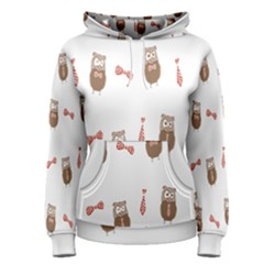 Insulated Owl Tie Bow Scattered Bird Women s Pullover Hoodie