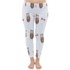 Insulated Owl Tie Bow Scattered Bird Classic Winter Leggings