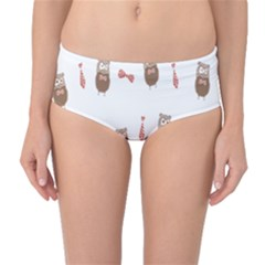 Insulated Owl Tie Bow Scattered Bird Mid-Waist Bikini Bottoms