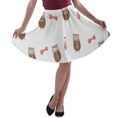Insulated Owl Tie Bow Scattered Bird A-line Skater Skirt