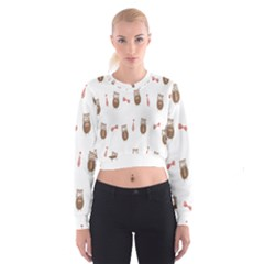 Insulated Owl Tie Bow Scattered Bird Cropped Sweatshirt