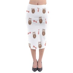 Insulated Owl Tie Bow Scattered Bird Midi Pencil Skirt