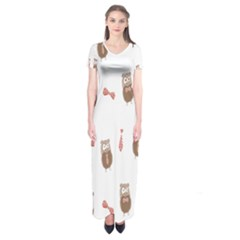Insulated Owl Tie Bow Scattered Bird Short Sleeve Maxi Dress