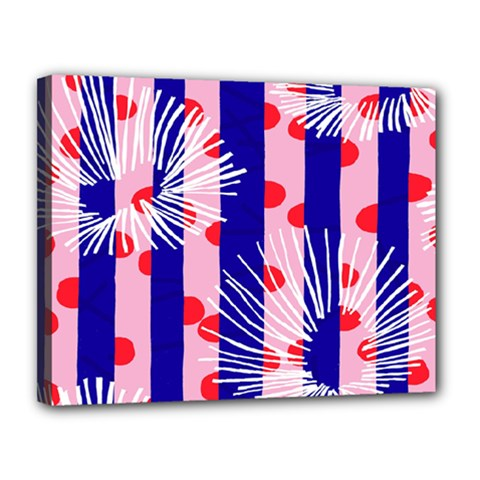 Line Vertical Polka Dots Circle Flower Blue Pink White Canvas 14  x 11