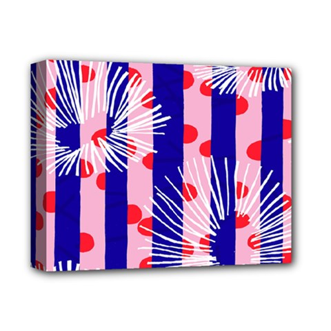 Line Vertical Polka Dots Circle Flower Blue Pink White Deluxe Canvas 14  x 11