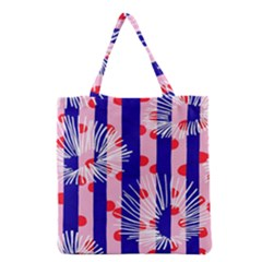 Line Vertical Polka Dots Circle Flower Blue Pink White Grocery Tote Bag