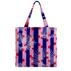 Line Vertical Polka Dots Circle Flower Blue Pink White Zipper Grocery Tote Bag
