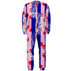 Line Vertical Polka Dots Circle Flower Blue Pink White OnePiece Jumpsuit (Men)
