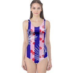 Line Vertical Polka Dots Circle Flower Blue Pink White One Piece Swimsuit
