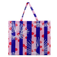 Line Vertical Polka Dots Circle Flower Blue Pink White Zipper Large Tote Bag