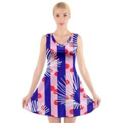 Line Vertical Polka Dots Circle Flower Blue Pink White V-Neck Sleeveless Skater Dress