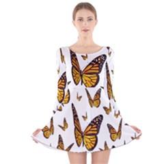 Butterfly Spoonflower Long Sleeve Velvet Skater Dress