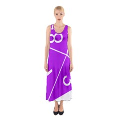 Number Purple Sleeveless Maxi Dress