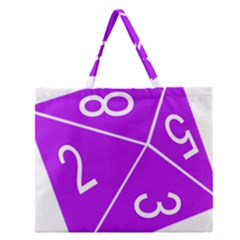Number Purple Zipper Large Tote Bag