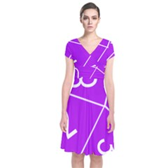 Number Purple Short Sleeve Front Wrap Dress