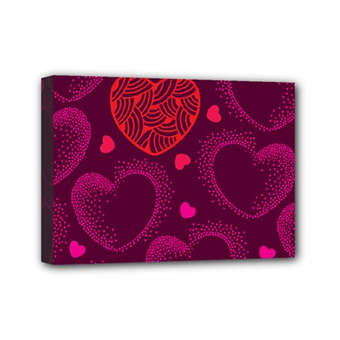 Love Heart Polka Dots Pink Mini Canvas 7  x 5