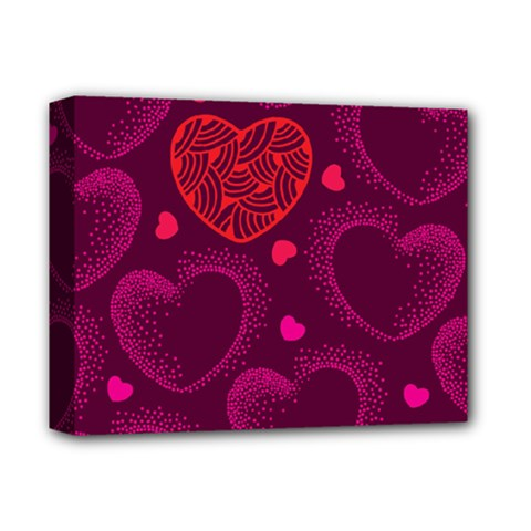 Love Heart Polka Dots Pink Deluxe Canvas 14  x 11