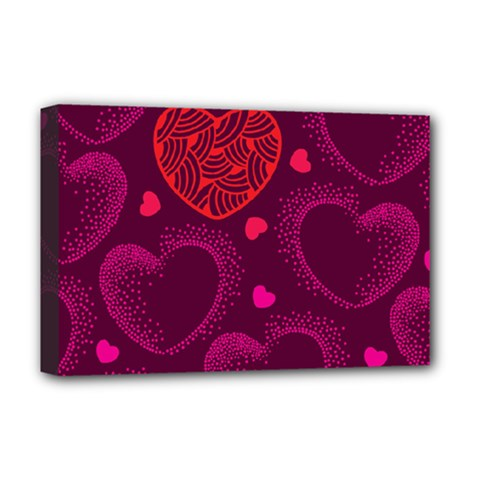 Love Heart Polka Dots Pink Deluxe Canvas 18  x 12