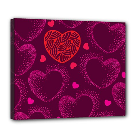 Love Heart Polka Dots Pink Deluxe Canvas 24  x 20