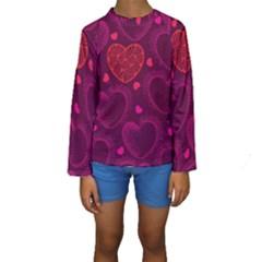 Love Heart Polka Dots Pink Kids  Long Sleeve Swimwear