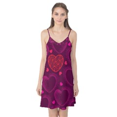 Love Heart Polka Dots Pink Camis Nightgown