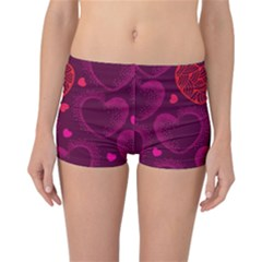 Love Heart Polka Dots Pink Reversible Boyleg Bikini Bottoms