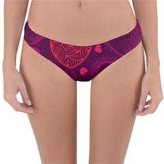 Love Heart Polka Dots Pink Reversible Hipster Bikini Bottoms