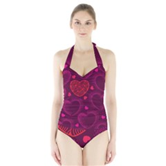Love Heart Polka Dots Pink Halter Swimsuit