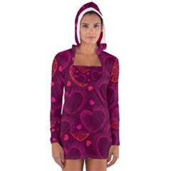 Love Heart Polka Dots Pink Women s Long Sleeve Hooded T-shirt