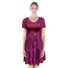 Love Heart Polka Dots Pink Short Sleeve V-neck Flare Dress