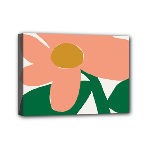Peach Sunflower Flower Pink Green Mini Canvas 7  x 5
