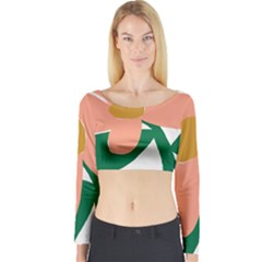 Peach Sunflower Flower Pink Green Long Sleeve Crop Top