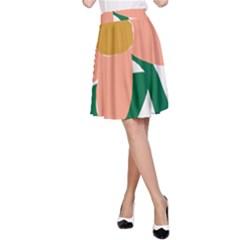 Peach Sunflower Flower Pink Green A-Line Skirt