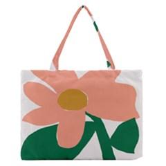 Peach Sunflower Flower Pink Green Medium Zipper Tote Bag