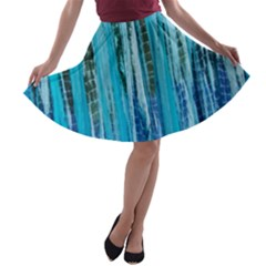 Line Tie Dye Green Kaleidoscope Opaque Color A-line Skater Skirt