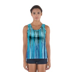 Line Tie Dye Green Kaleidoscope Opaque Color Women s Sport Tank Top