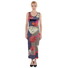 Original Butterfly Carnation Fitted Maxi Dress