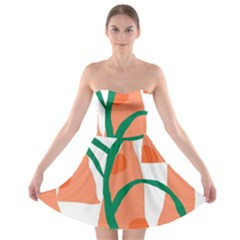 Portraits Plants Carrot Polka Dots Orange Green Strapless Bra Top Dress