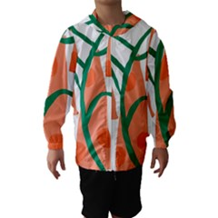 Portraits Plants Carrot Polka Dots Orange Green Hooded Wind Breaker (Kids)