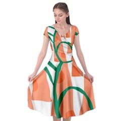 Portraits Plants Carrot Polka Dots Orange Green Cap Sleeve Wrap Front Dress