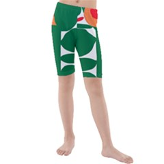 Portraits Plants Sunflower Green Orange Flower Kids  Mid Length Swim Shorts