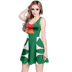 Portraits Plants Sunflower Green Orange Flower Reversible Sleeveless Dress