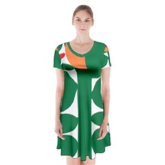 Portraits Plants Sunflower Green Orange Flower Short Sleeve V-neck Flare Dress