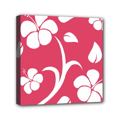 Pink Hawaiian Flower White Mini Canvas 6  x 6