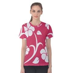 Pink Hawaiian Flower White Women s Cotton Tee